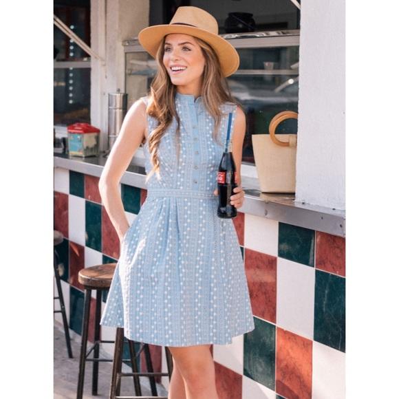 Gal Meets Glam Dresses & Skirts - Gal Meets Glam Quinn Chambray Eyelet Dress